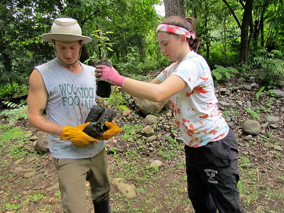 Reid Langona and Sophie Leiter moving tree seedlings to restore habitat
