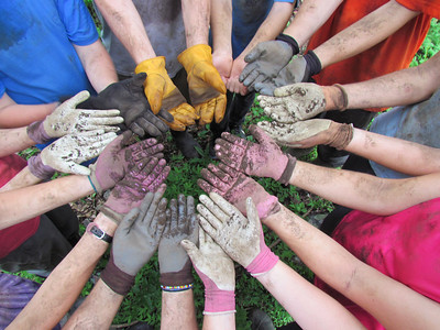 dirty hands and gloves after a day of planting