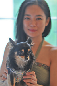 Jung Lin with her dog HuaHua 2
