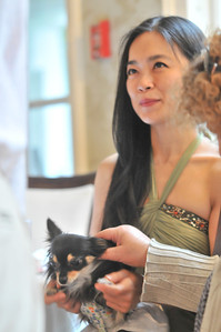 Jung Lin with her dog, Huahua