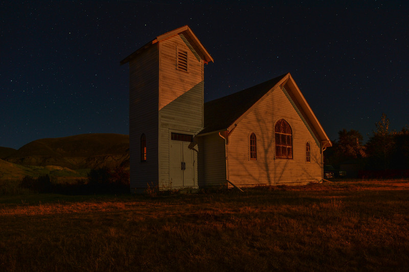 Dorothy Ab.is a ghost town...night shots of the two churches
