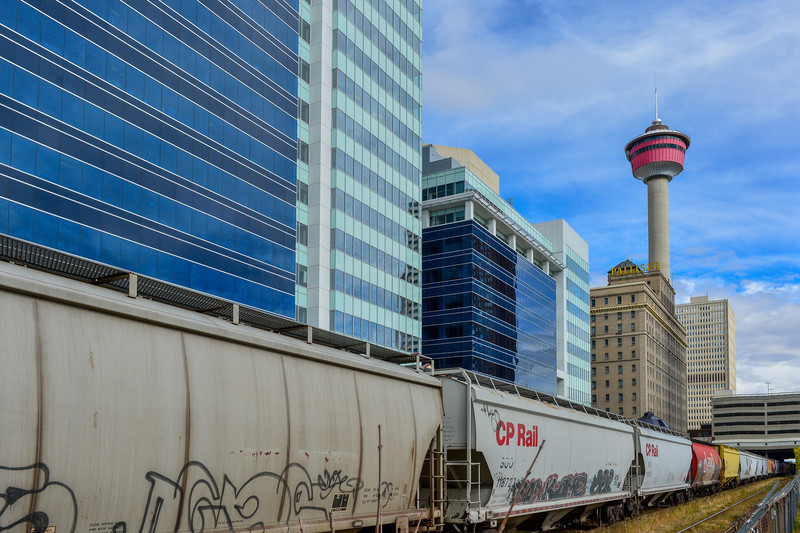 Oops...spelled  Palliser wrong in the email......fingers were still asleep..lol<br /> CPR railroad, Palliser Hotel under the shadow of the Calgary Tower