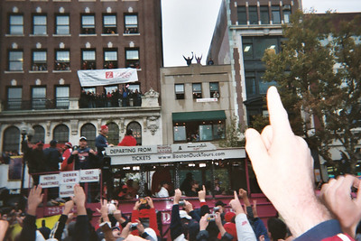 Pedro, Wakefield, Schilling and the team on the World Series Parade on Boylston Street, Across from Ziggs.