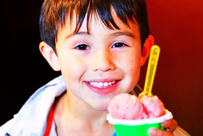 Luke enjoys gelato