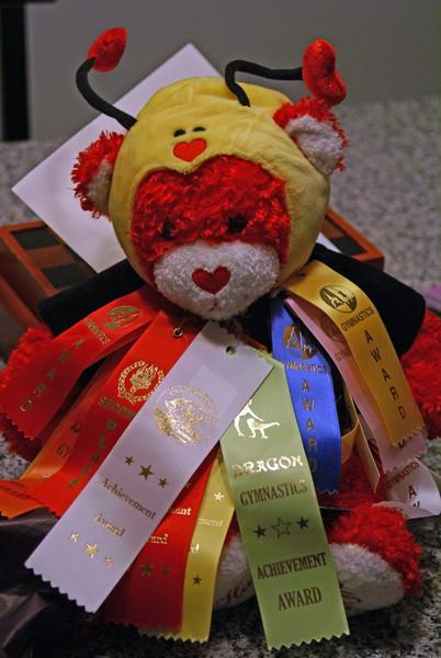 42 ribbons later, Bea's gymnastic's bear wants his time in the sun...