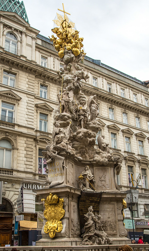 "The ""Pestsäule"" (Plague Column), located on the Graben, a pedestrian walkway in Vienna, was created by  Paul Strudel. It was completed in 1693 and commemorates the end of 1679 bubonic plague, which claimed an estimated 76,000 lives."