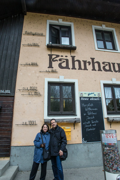 High water marks on the exterior of a Melk, Austria inn, dating back to 1501 AD. They had not gotten around to marking the 2013 flood, which was even higher.
