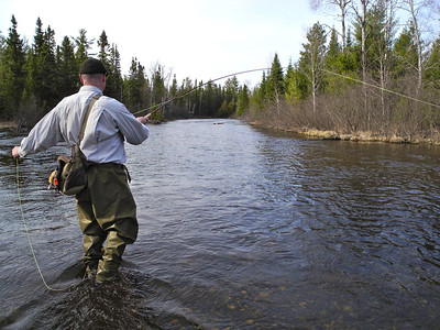 A classic fly-fishing uniform presents a classic photo to begin our opening weekend foray into trout season. This is the day before the traditional opener on a section of the North Branch of the AuSable River that is open year-round. Day #59.