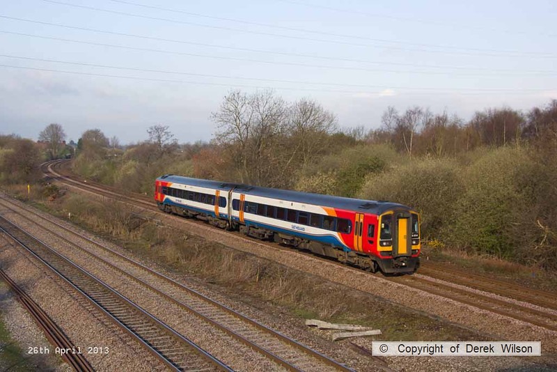 130426-001     East Midlands Trains class 158 unit no. 158854 is seen nearing North Stafford Junction, Willington with 1K03, the 0740 Derby to Crewe.