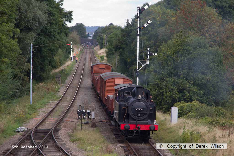 131005-029     LMS 3F (jinty) 0-6-0T no 47406 is seen passing Quorn with a Loughborough to Rothley Brook demonstration freight.