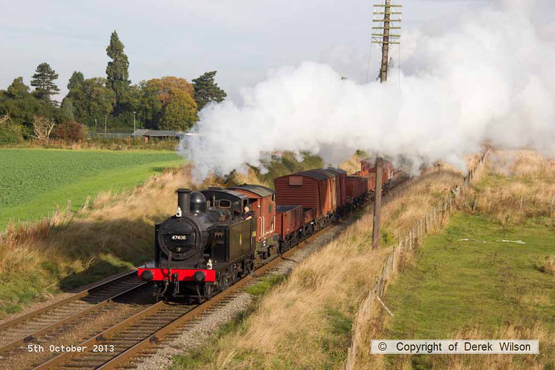 131005-007     LMS 3F (jinty) 0-6-0T<br /> no 47406 is seen approaching Woodthorpe bridge with a Loughborough to Rothley demonstration freight.
