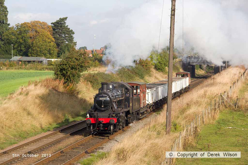 131005-010     LMS 2MT 2-6-0 no 46521 approaching Woodthorpe bridge with a Loughborough to Rothley Brook, demonstration freight
