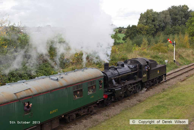 131005-026     LMS  2MT 2-6-0 no 46521 pulling away from Quorn with the 11.15 Rothley to Loughborough.