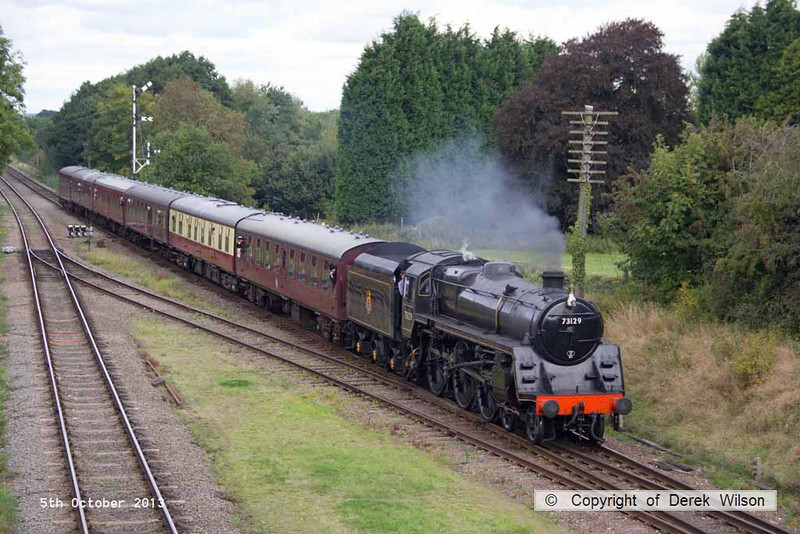 131005-036     BR standard 'Caprotti' 4-6-0 no 73129 is seen arriving at Quorn with the 12.00 Loughborough to Leicester North.
