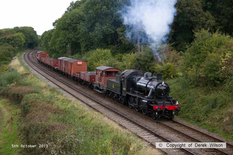 131005-038     LMS  'Ivatt' 2MT 2-6-0 no 46521 passes Kinchley Lane with a Loughborough to Rothley Brook demonstration freight.