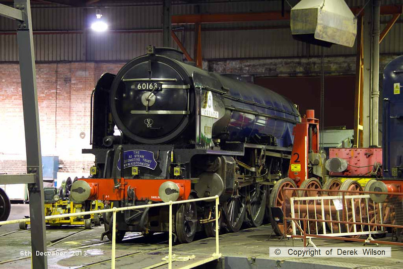 131206-019     LNER A1 4-6-2 no 60163 Tornado which is at Barrow Hill for a intermediate overhaul.