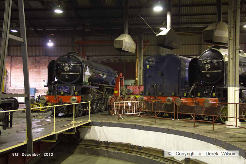 131206-018     LNER A1 4-6-2 no 60163 Tornado which is at Barrow Hill for a intermediate overhaul and A2 4-6-2 no 60532 Blue Peter. Tornado has been split from it's tender, which is seen between the two loco's.