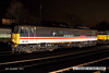 131206-081     Class 86 no 86213 Lancashire Witch in BR Intercity 'Swallow' livery, seen under the lights at Barrow Hill, from an elevated viewpoint on the banking..