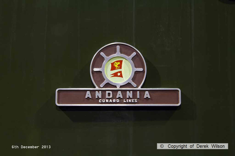 131206-029     Nameplate of ex BR English Electric type 4 (class 40) no D213 Andania