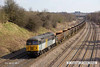 130406-058     The Class 56 Group's 56301 in unbranded FastLine Freight livery on hire to BARS/DCR, is seen passing Hasland, Chesterfield, powering 6Z57, 1500 Chaddesden Sidings to York Holgate Sidings, empty JRA box wagons used on the Kellingley/Butterwell - Thoresby coal for washing/blending. The loco has taken over from 56312 which returned south earlier in the day, unfortunately there was no 'clag' as it was slowing for a signal check.