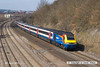 130406-049     East Midlands Trains class 43, HST powercr no. 43058 is seen passing Hasland, Chesterfield, leading 5M30, 1430 Sheffield to Nottingham empty stock movement. 43047 was at the rear.