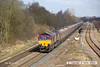 130406-007     DB Schenker class 66/0 no. 66009 passing Westhouses near Alfreton, powering train 6M56, 1750 Greenburn Keir Mining to Ratcliffe power station, loaded coal hoppers.