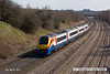 130406-051     East Midlands Trains class 222/1 no. 222102 passes Hasland, Cesterfield, with 5C62, 1416 Etches Park Sidings to Sheffield empty stock movement.
