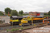 130806-036     Colas class 66/8 no 66846 is stood adjacent to where Sneinton box stood until a few days ago. The road/railer is TXM Plant's Kobelco SK135 RailBug no 99709 911062-0. Image captured at Meadow Lane, Sneinton, Nottingham.