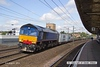 130803-015     Plain blue liveried Freightliner class 66/4 no 66414 is seen passing through Retford, powering Intermodal 4xxx, 09.55 Doncaster Europort to Felixtowe North f.l.t. This ran to a VSTP schedule, headcode unknown.
