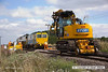 130830-006     A busy scene at Clipstone East junction, now plain lined, ballast laying & tamping is underway. In this scene is Volker Rail tamper no DR75403 & road railer JCB, JZ140 no 99709 910013-0.