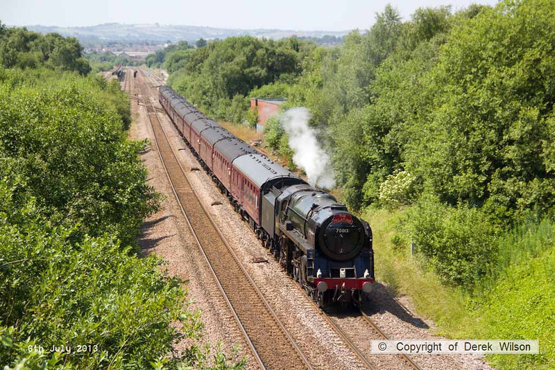130706-025     BR Britannia 4-6-2 no 70013 Oliver Cromwell powers away from Barrow Hill after stopping for water, whilst working 'The Yorkshireman', train 1Z82, 0630 London Victoria to York, a Railway Touring Company charter.