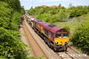 130602-012     DB Schenker class 66/0 no. 66025 is captured heading towards Pinxton, having just left the Robin Hood Line at Kirkby Lane End Junction. It was leading train 6B16, 1454, Kirkby Lane End Jn to Toton North Yard & is seen after running to Shirebrook to cross-over, classmate no. 66136 was at the rear.