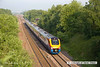 130608-001     East Midlands Trains class 222, Meridian unit no. 222005 speeds past Barrow Hill with 1F00, the 0626 Derby to Sheffield.