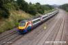 130720-027     East Midlands Trains class 222, meridian unit no 222001, captured passing Hasland with train 5F55, 12.41 Etches Park to Sheffield, empty stock movement.