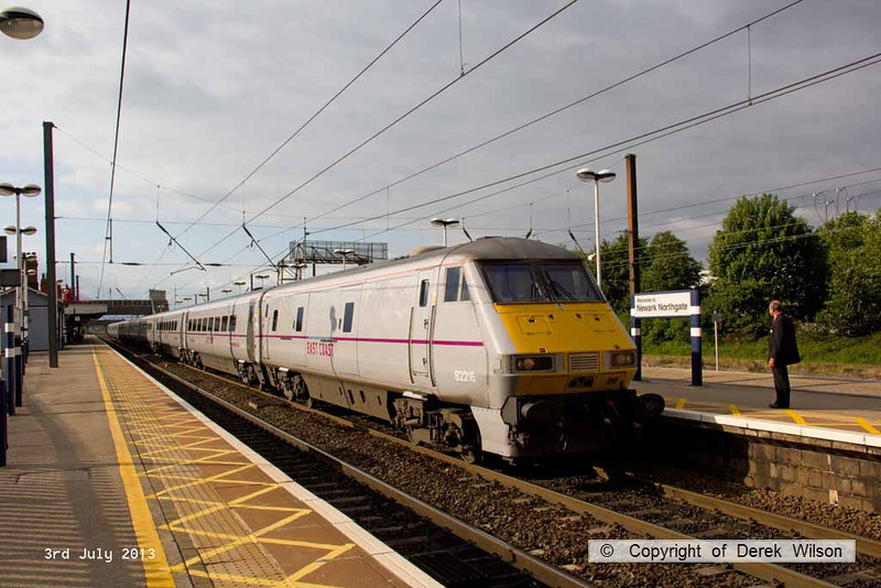 130703-001     East Coast Trains DVT no. 82216 leads 1Y44, the 1625 Newcastle to London Kings Cross, seen arriving at Newark North Gate. Class 91 no 91102 City of York was at the rear, providing the power.