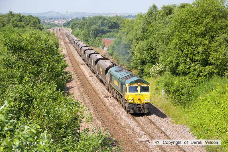 130706-012     Freightliner class 66/9 no 66952, captured passing Barrow Hill powering the 0831 Ratcliffe power station to Kellingley Colliery, empty coal hoppers.