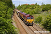 130602-009     DB Schenker class 66/0 no. 66025 is captured heading towards Pinxton, having just left the Robin Hood Line at Kirkby Lane End Junction. It was leading train 6B16, 1454, Kirkby Lane End Jn to Toton North Yard & is seen after running to Shirebrook to cross-over, classmate no. 66136 was at the rear.