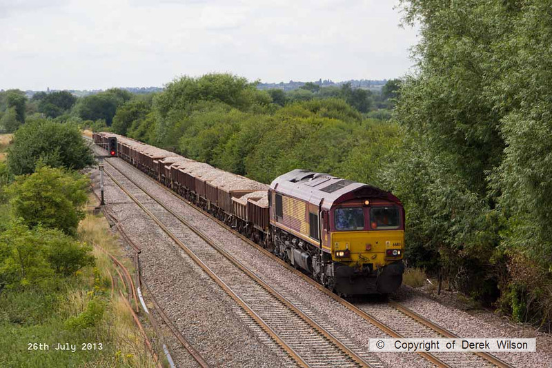 130726-034     DB Schenker class 66/0 no 66113 approaches Willington, powering train 6Z32, 11.25 Bardon Hill quarry to Tyne SS, loaded ballast in box wagons.