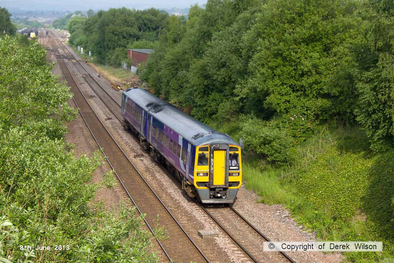 130608-002     Northern Rail class 158 unit no. 158851 is seen passing Barrow Hill with 1Y08, the 0713 Nottingham to Leeds.