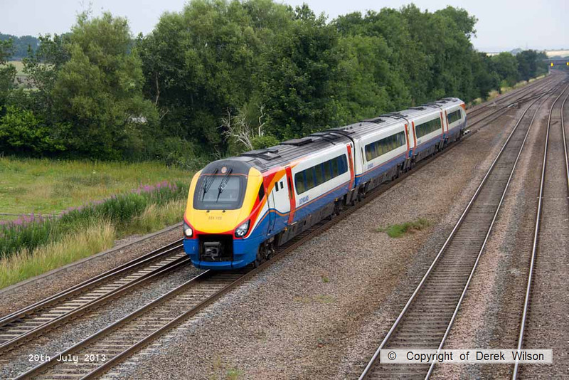 130720-007     East Midlands Trains class 222 unit no 222102 speeds through Tupton, heding towards Derby with train 1C27, the 08.47 Sheffield to St Pancras International.