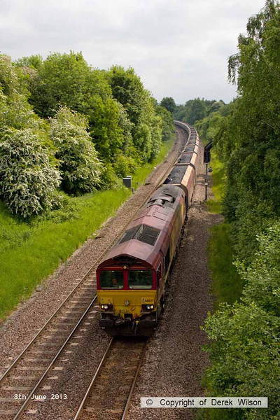 130608-029     DB Schenker class 66/0 no. 66027 is captured passing Barrow Hill, powering train 6M56, 1800 Greenburn, Keir Mining to Ratcliffe power station, loaded coal hoppers.