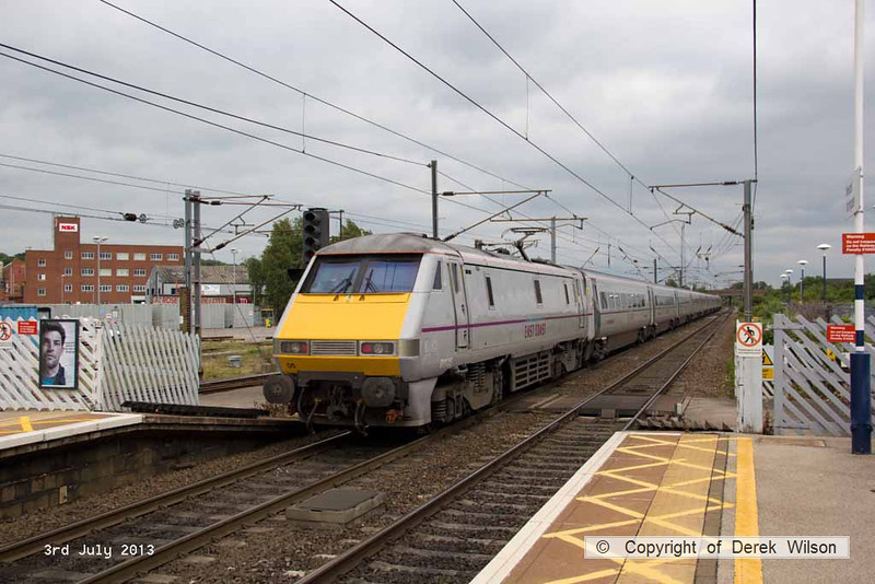 130703-004     East Coast Trains class 91 no 91105 is seen passing through Newark North Gate, at the rear of 1E21, the 1530 Edinburgh to London Kings Cross.