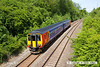 130602-002     East Midlands Trains class 156 unit no. 156410 is seen on the freight line, nearing Kirkby Lane End Junction with diverted 2H04, the 1328 Nottingham to Mansfield Woodhouse.