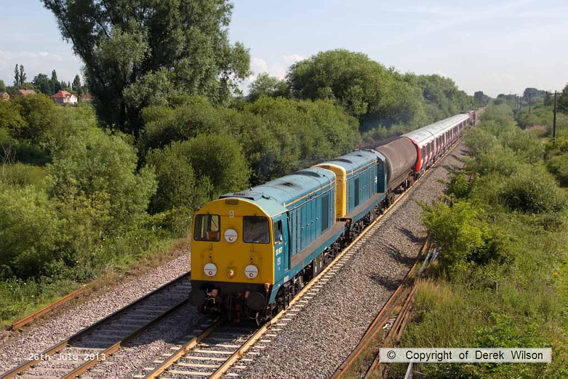 130726-010     Blue liveried class 20's no's 20107 & 20096 'top & tail' with the pair in GBRf livery, no's 20906 & 20901 are captured near Willington, in glorious summer sunshine, powering train 7X23, 09.33 Derby (Bombardier), Litchurch Lane to Old Dalby (test track), hauling new London Undergound stock.