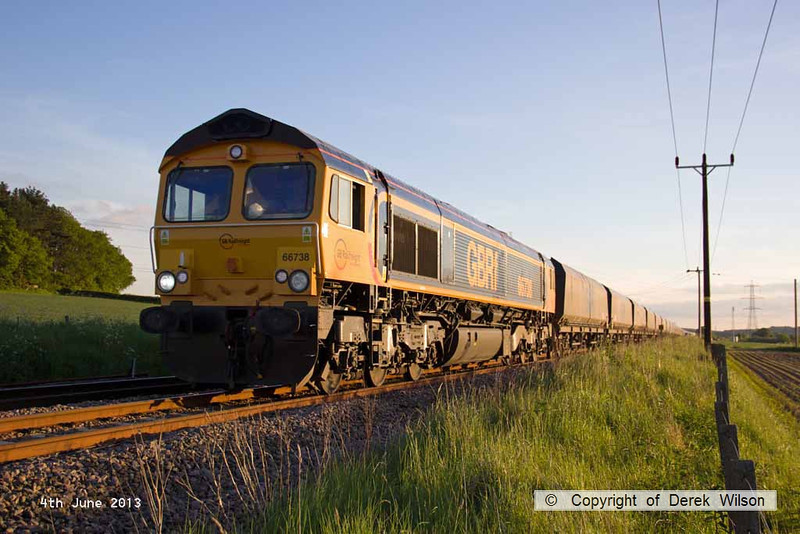 130604-004     GBRf class 66/7 no. 66738 is seen having just passed Clipstone East Junction, powering train 4K56, 1915 West Burton power station to Thoresby Colliery.