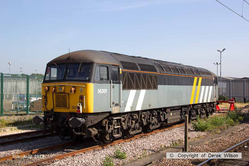 130709-009     The Class 56 Group's ex Fastline 56301 which is on hire to DCR, posing in the sun in York parcel sidings.