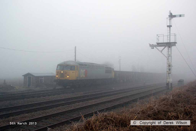 130305-005     BARS class 56 no. 56311 pulls away from Thoresby colliery junction in thick fog, powering 6Z22, 0700 Thoresby Colliery to York Holgate Sidings, the return empties from the first BARS operated Butterwell - Thoresby coal.