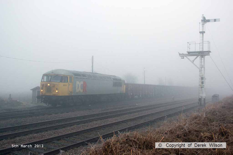130305-008     BARS class 56 no. 56311 pulls away from Thoresby colliery junction in thick fog, powering 6Z22, 0700 Thoresby Colliery to York Holgate Sidings, the return empties from the first BARS operated Butterwell - Thoresby coal.