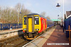 130319-001     East Midlands Trains class 156 unit no. 156498 calls at Shirebrook with 2D04, the 0838 Worksop to Nottingham. This is one of the four units aquired from Northern Rail.