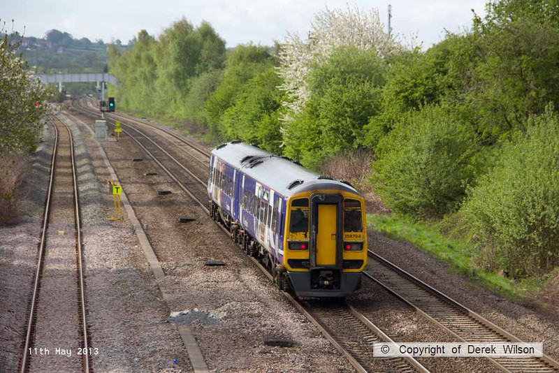 130511-007     Northern Rail class 158 unit no. 158794 approaches Langley mill with 1Y09, the 0705 Leeds to Nottingham.